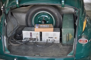 Radio equipment mounted in Monty's trunk