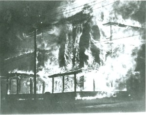 Another of Miller's photographs of the now full engulfed Inn taken approximately 10 minutes later. (Waterbury Historical Society)